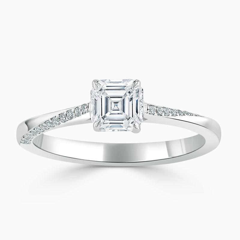 18ct White Gold Asscher Cut Vortex Engagement Ring