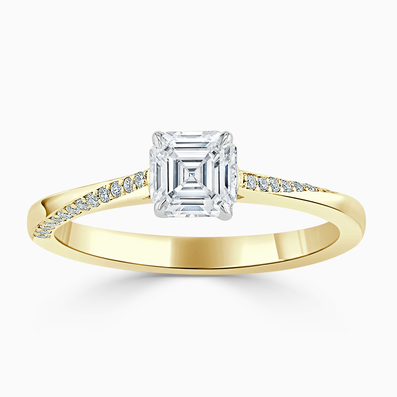18ct Yellow Gold Asscher Cut Vortex Engagement Ring