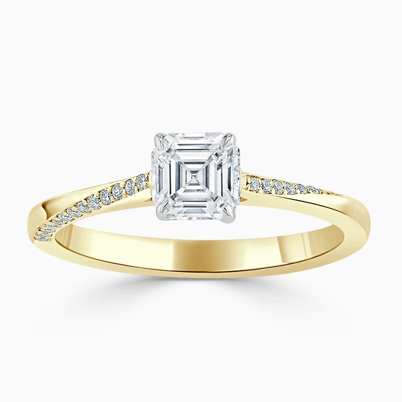 18ct Yellow Gold Asscher Cut Vortex Engagement Ring