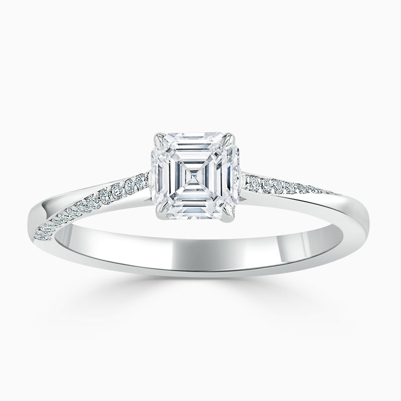 Platinum Asscher Cut Vortex Engagement Ring