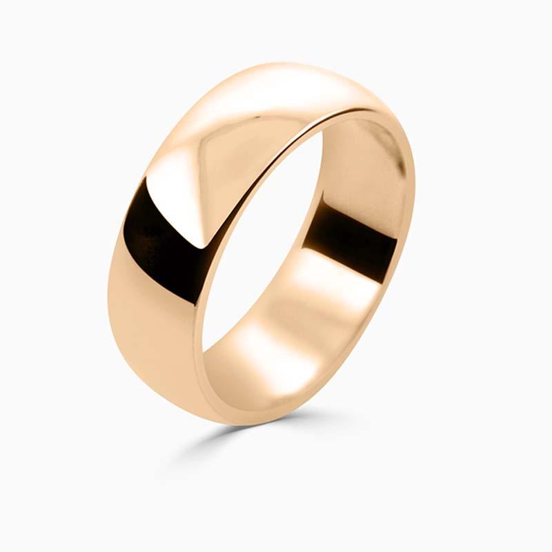 18ct Rose Gold 7mm D Shape Medium Weight Wedding Ring