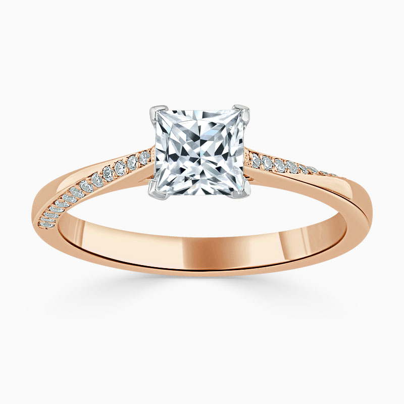 18ct Rose Gold Princess Cut Vortex Engagement Ring