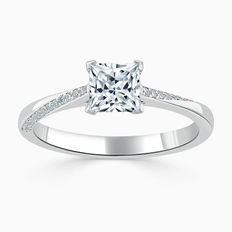18ct White Gold Princess Cut Vortex Engagement Ring