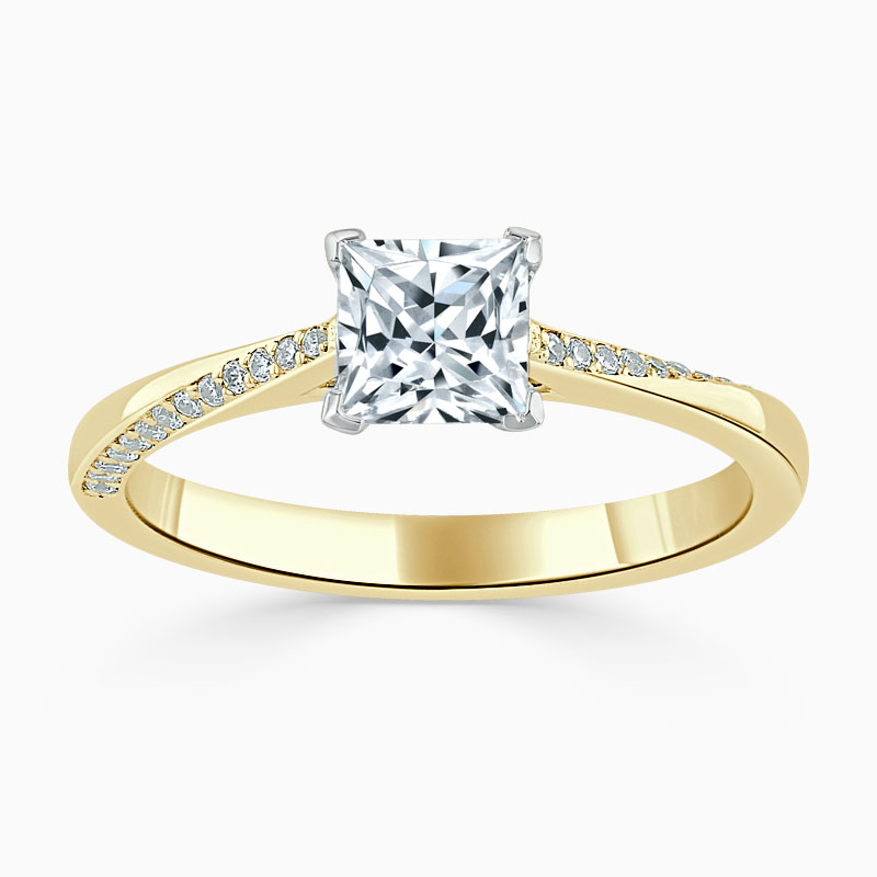 18ct Yellow Gold Princess Cut Vortex Engagement Ring