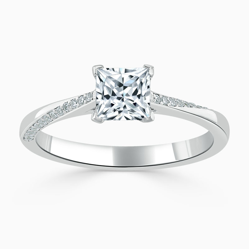 Platinum Princess Cut Vortex Engagement Ring