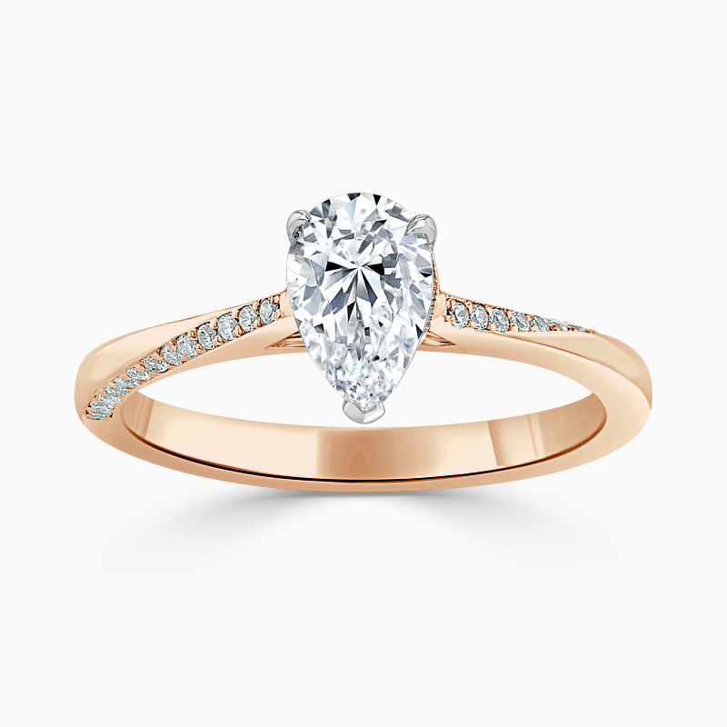 18ct Rose Gold Pear Shape Vortex Engagement Ring