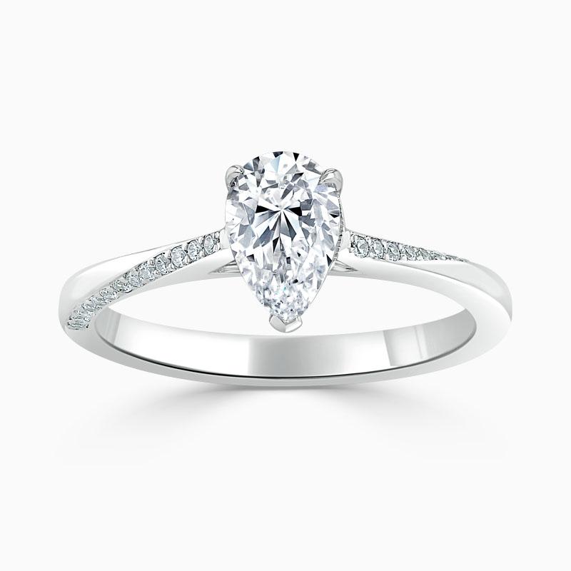Platinum Pear Shape Vortex Engagement Ring