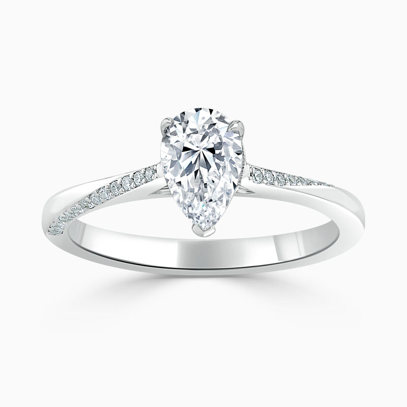 Platinum Pear Shape Vortex Engagement Ring