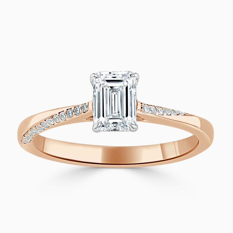 18ct Rose Gold Emerald Cut Vortex Engagement Ring