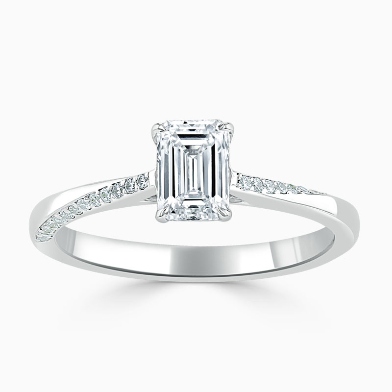 18ct White Gold Emerald Cut Vortex Engagement Ring