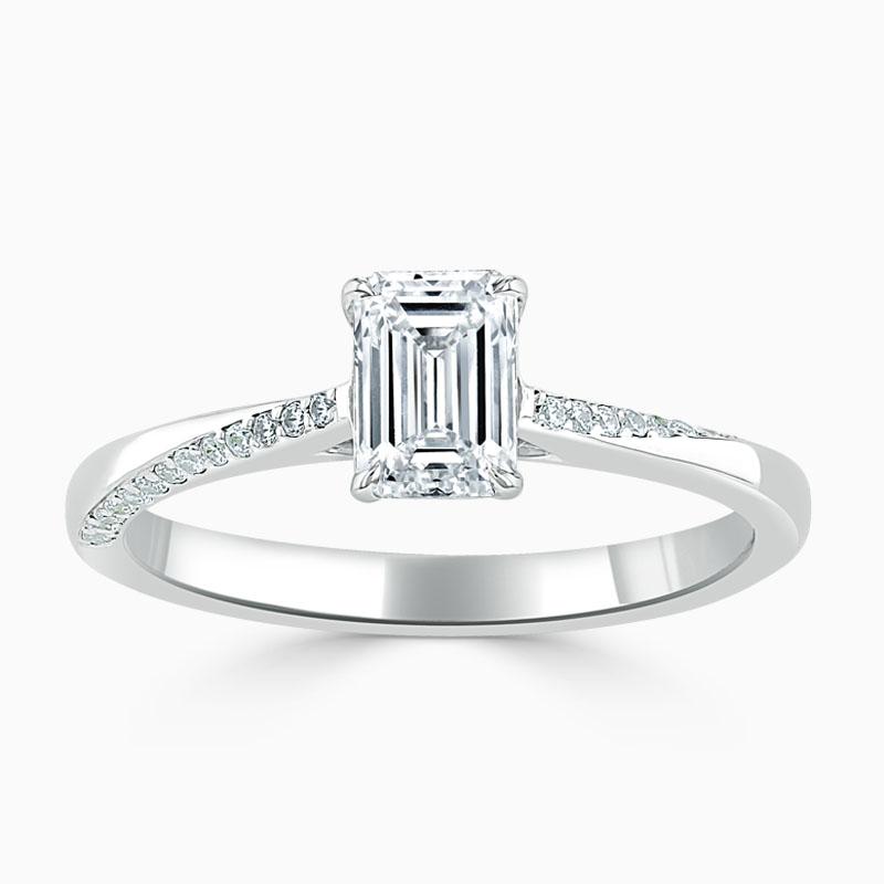 18ct White Gold Emerald Cut Vortex Engagement Ring