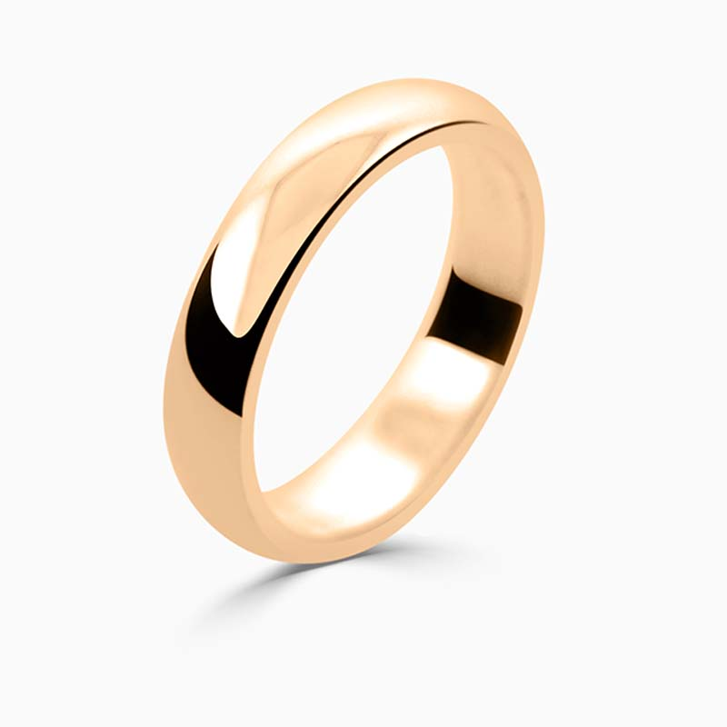 18ct Rose Gold 4mm D Shape Medium Weight Wedding Ring