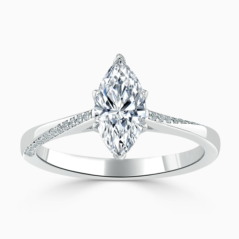18ct White Gold Marquise Cut Vortex Engagement Ring