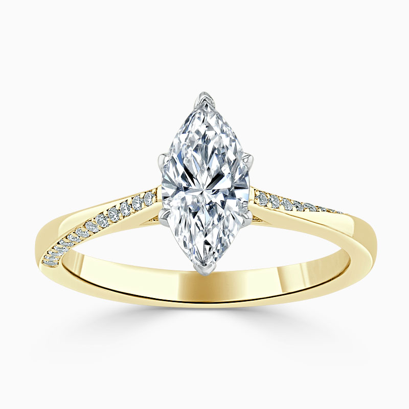 18ct Yellow Gold Marquise Cut Vortex Engagement Ring