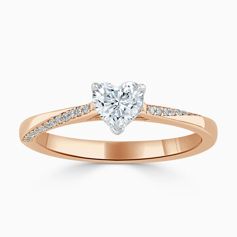 18ct Rose Gold Heart Shape Vortex Engagement Ring