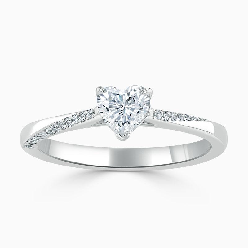 18ct White Gold Heart Shape Vortex Engagement Ring