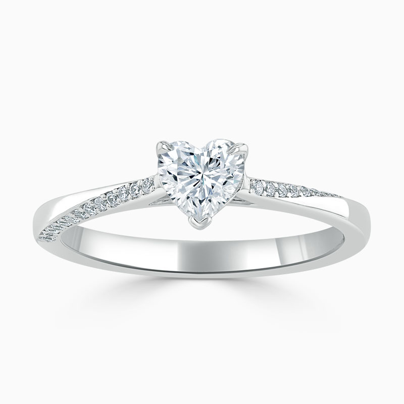 18ct White Gold Heart Shape Vortex Engagement Ring