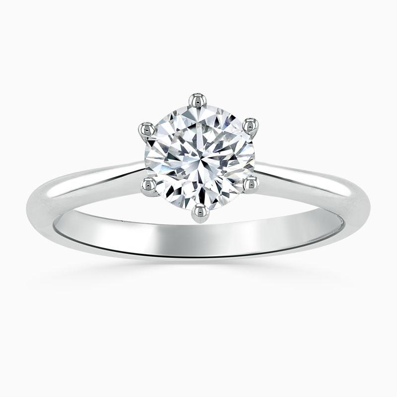Platinum Round Brilliant Wedfit 6 Claw Engagement Ring