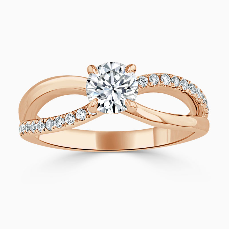 18ct Rose Gold Round Brilliant Woven Set Engagement Ring