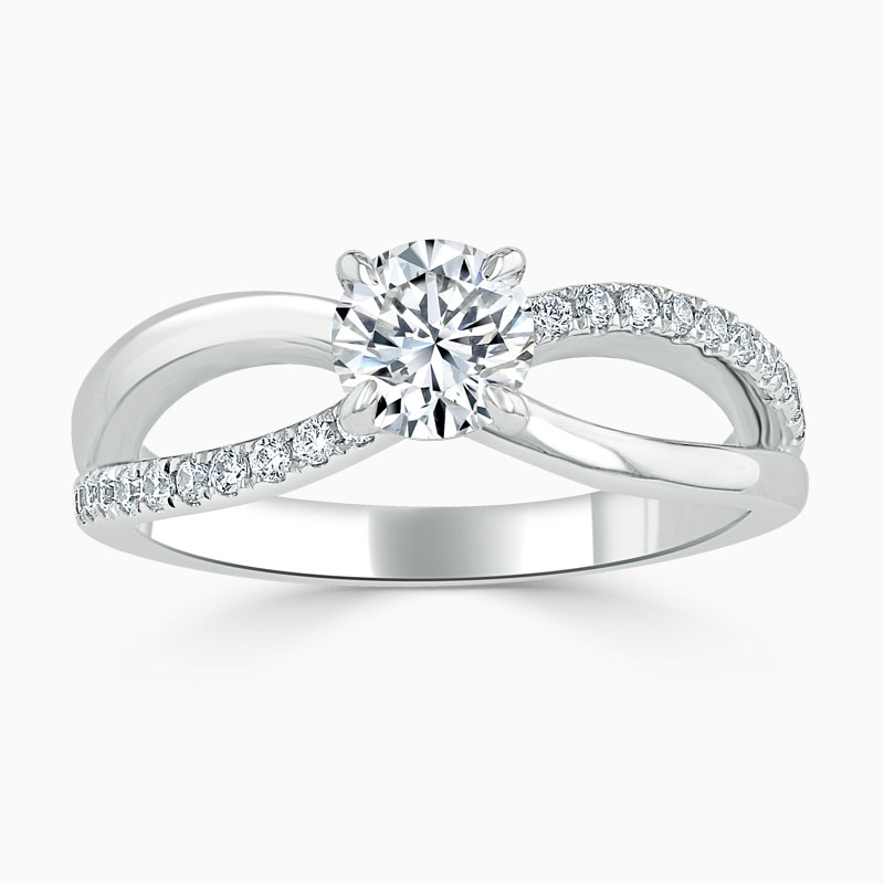 18ct White Gold Round Brilliant Woven Set Engagement Ring