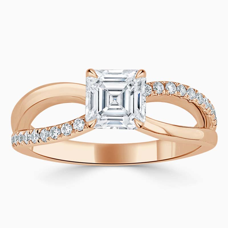 18ct Rose Gold Asscher Cut Woven Set Engagement Ring