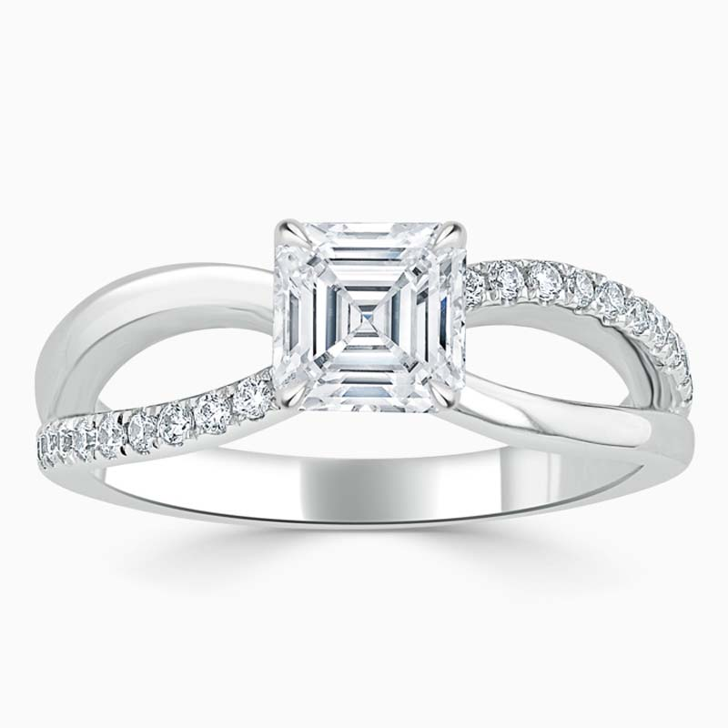18ct White Gold Asscher Cut Woven Set Engagement Ring