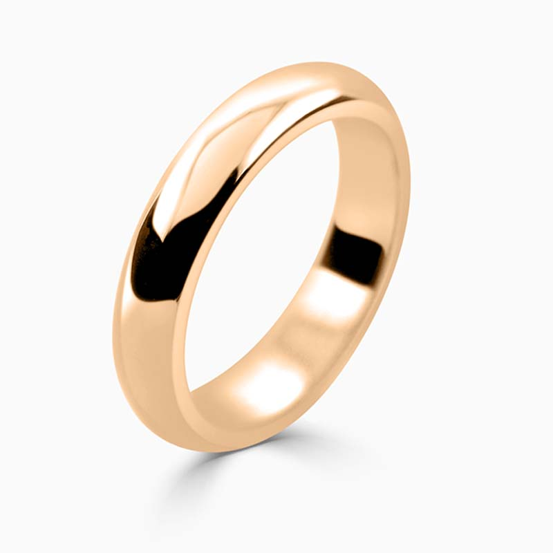 18ct Rose Gold 4mm D Shape Heavy Weight Wedding Ring