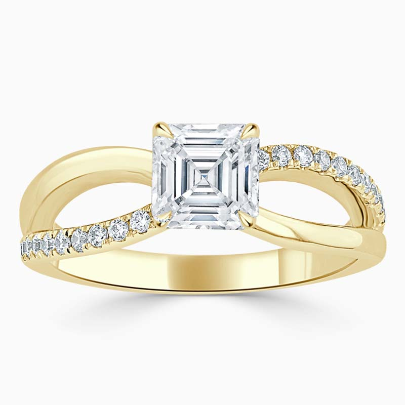 18ct Yellow Gold Asscher Cut Woven Set Engagement Ring
