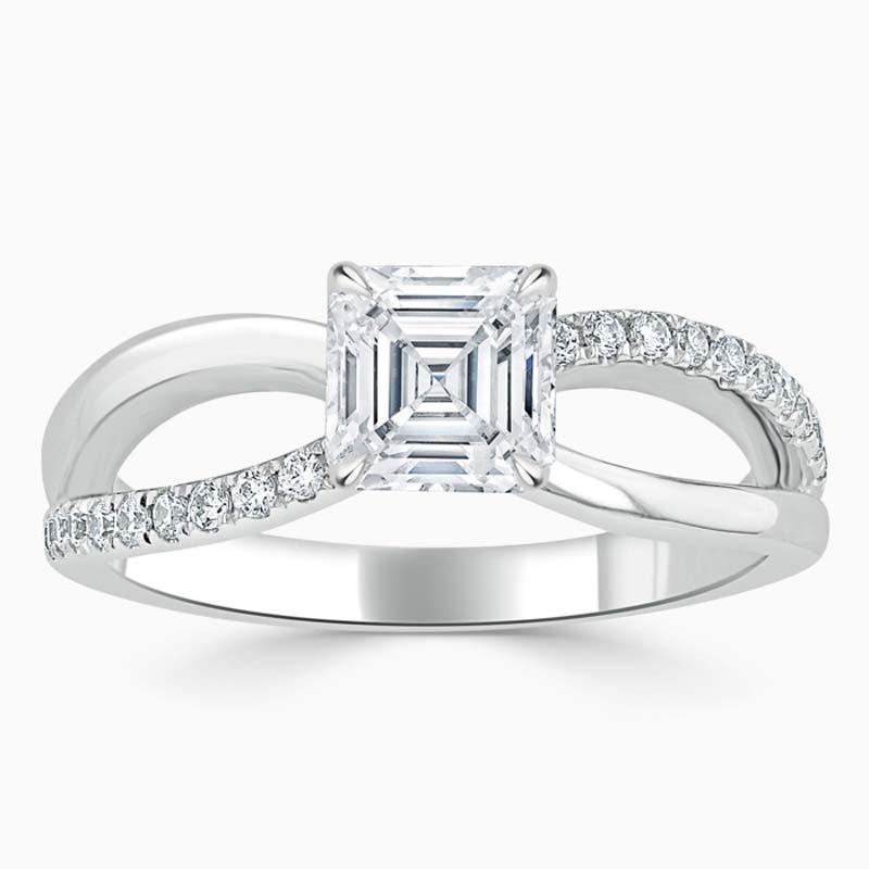 Platinum Asscher Cut Woven Set Engagement Ring