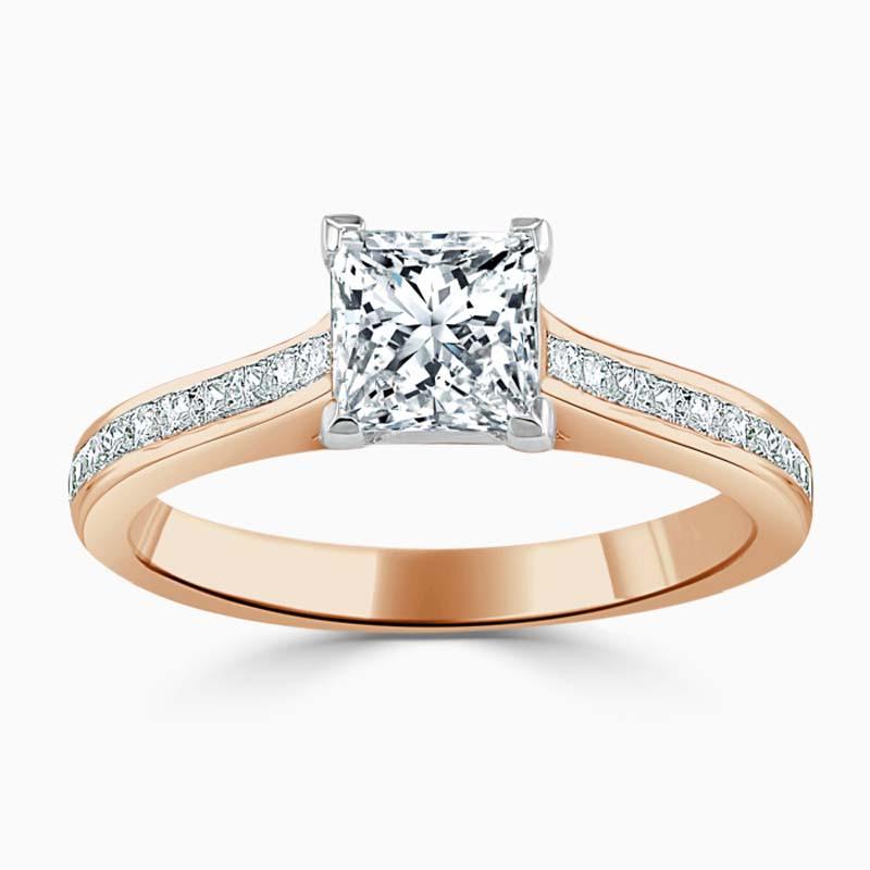 18ct Rose Gold Princess Cut Princess with Princess Shoulders Engagement Ring