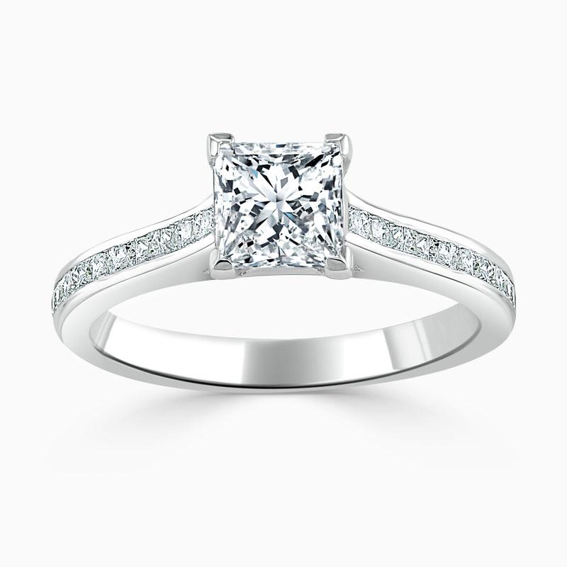 18ct White Gold Princess Cut Princess with Princess Shoulders Engagement Ring