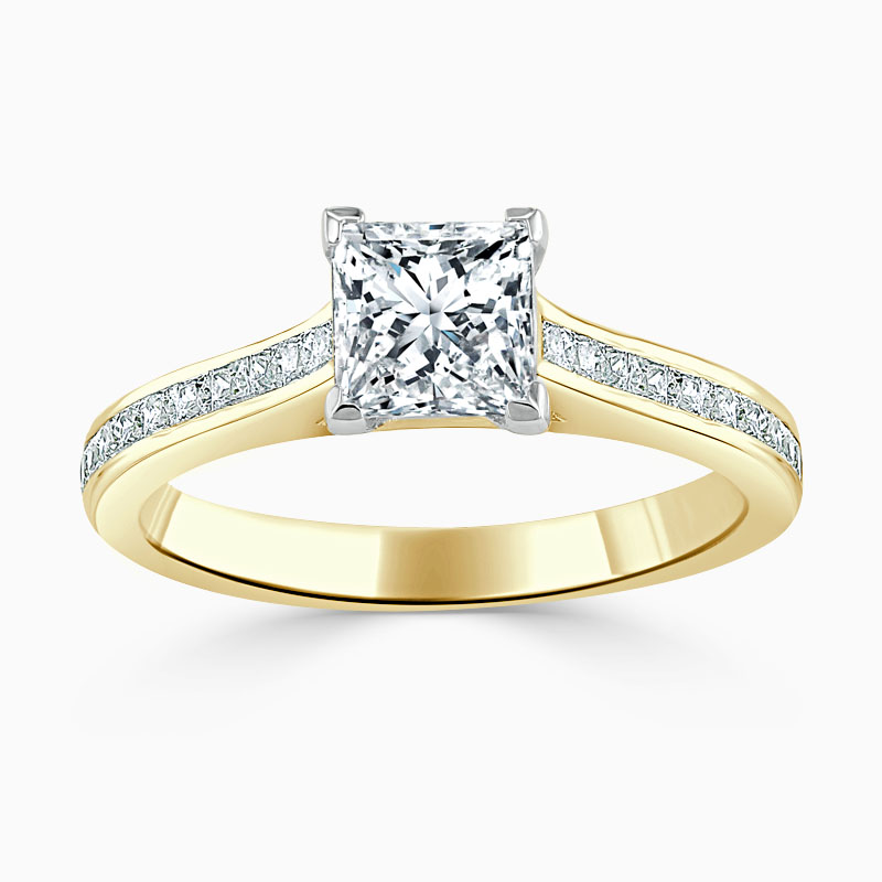 18ct Yellow Gold Princess Cut Princess with Princess Shoulders Engagement Ring