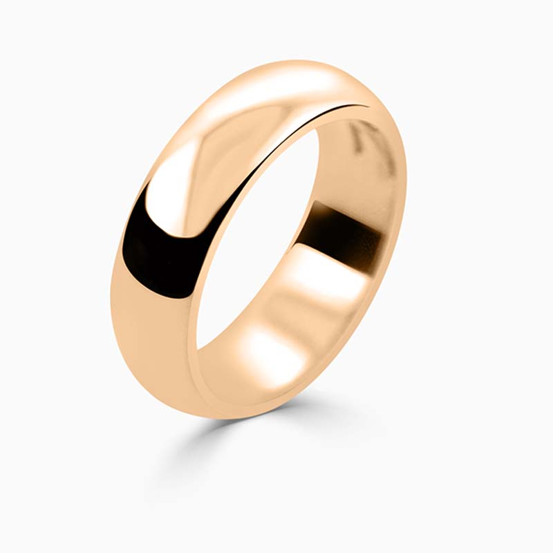 18ct Rose Gold 6mm D Shape Heavy Weight Wedding Ring