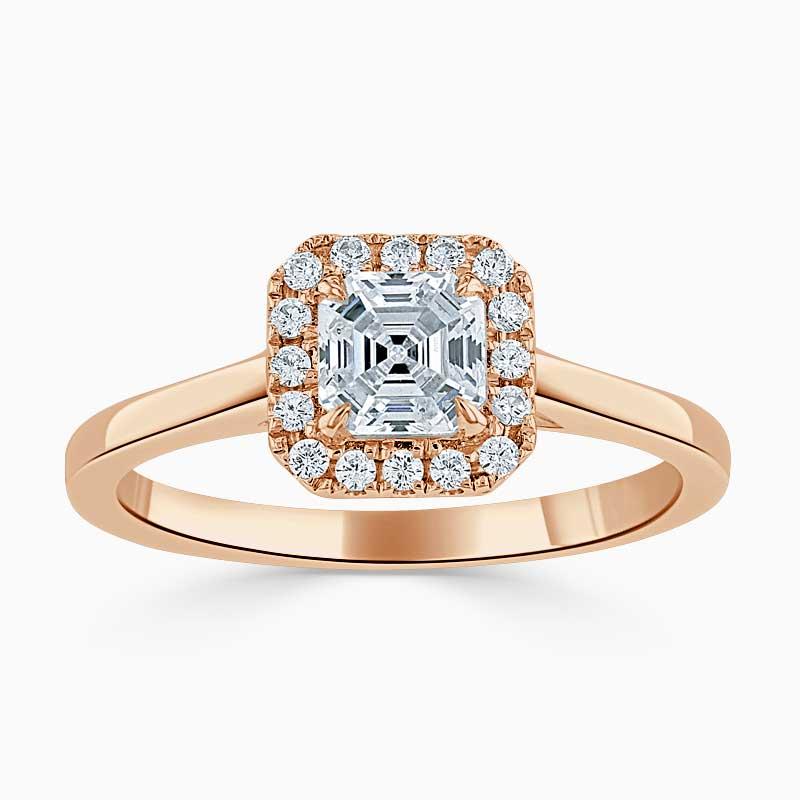 18ct Rose Gold Asscher Cut Classic Plain Halo Engagement Ring