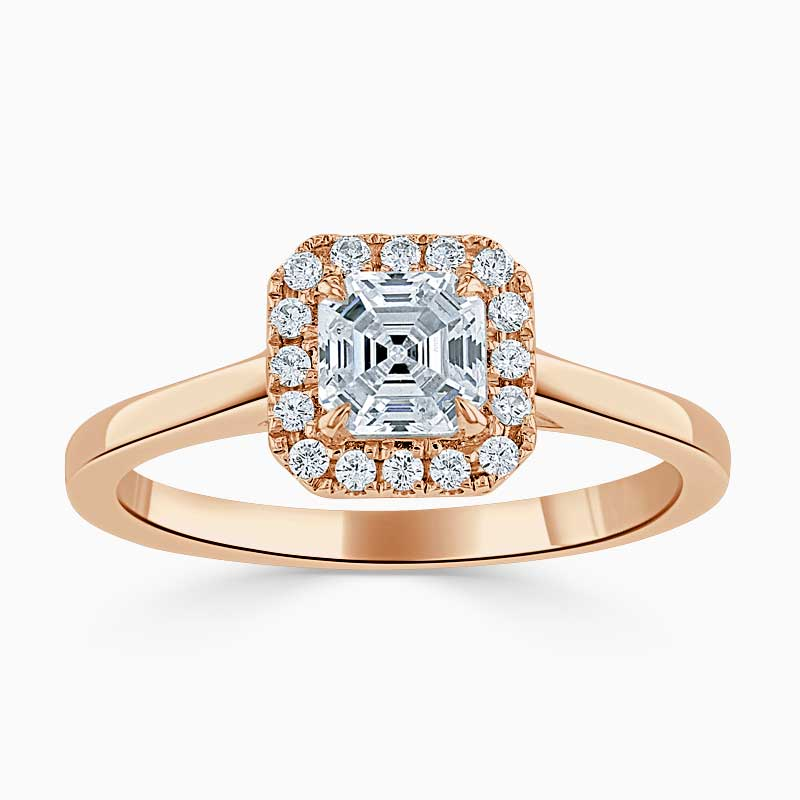 18ct Rose Gold Asscher Cut Classic Plain Halo Engagement Ring