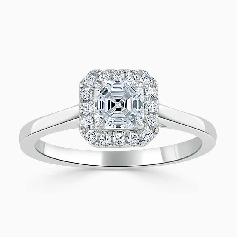 18ct White Gold Asscher Cut Classic Plain Halo Engagement Ring