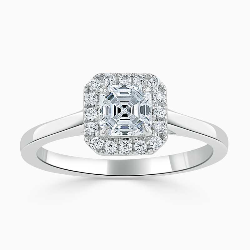 18ct White Gold Asscher Cut Classic Plain Halo Engagement Ring