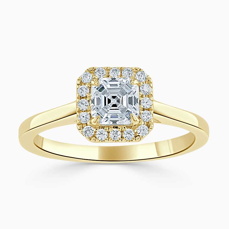18ct Yellow Gold Asscher Cut Classic Plain Halo Engagement Ring