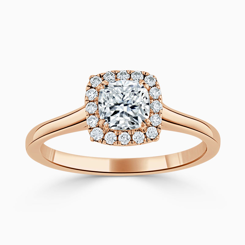 18ct Rose Gold Cushion Cut Classic Plain Halo Engagement Ring