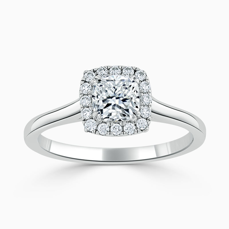 18ct White Gold Cushion Cut Classic Plain Halo Engagement Ring