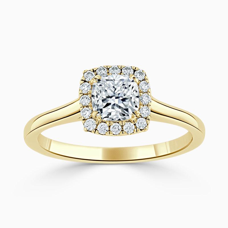 18ct Yellow Gold Cushion Cut Classic Plain Halo Engagement Ring