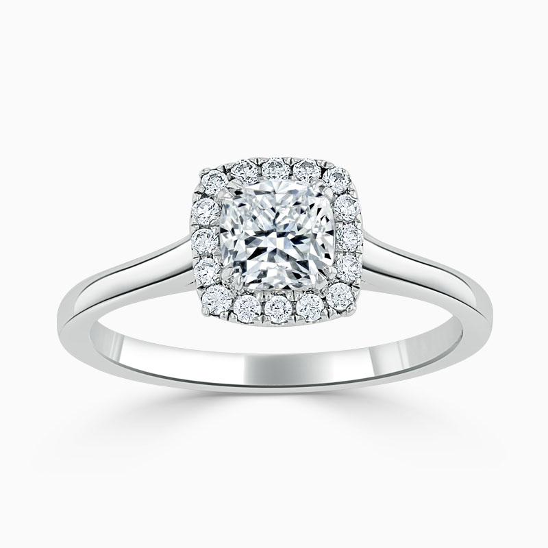 Platinum Cushion Cut Classic Plain Halo Engagement Ring