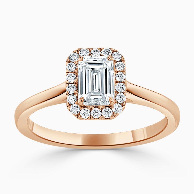 18ct Rose Gold Emerald Cut Classic Plain Halo Engagement Ring
