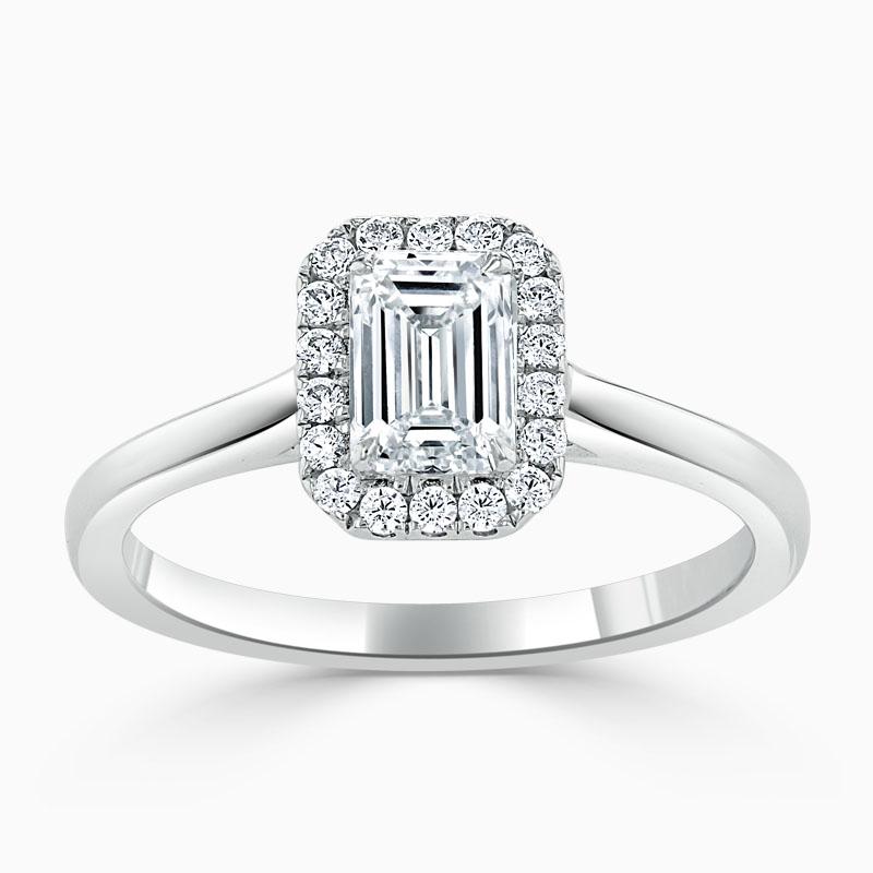 Platinum Emerald Cut Classic Plain Halo Engagement Ring