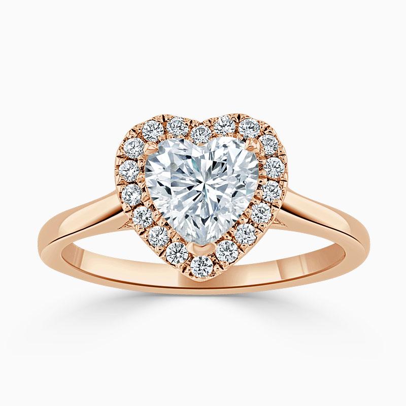 18ct Rose Gold Heart Shape Classic Plain Halo Engagement Ring