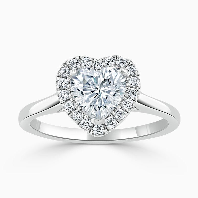 18ct White Gold Heart Shape Classic Plain Halo Engagement Ring