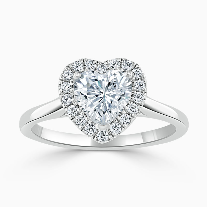 Platinum Heart Shape Classic Plain Halo Engagement Ring