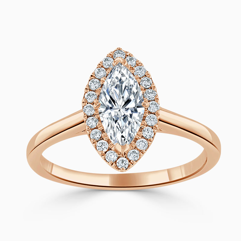 18ct Rose Gold Marquise Cut Classic Plain Halo Engagement Ring