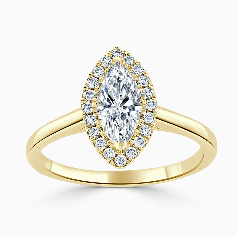 18ct Yellow Gold Marquise Cut Classic Plain Halo Engagement Ring
