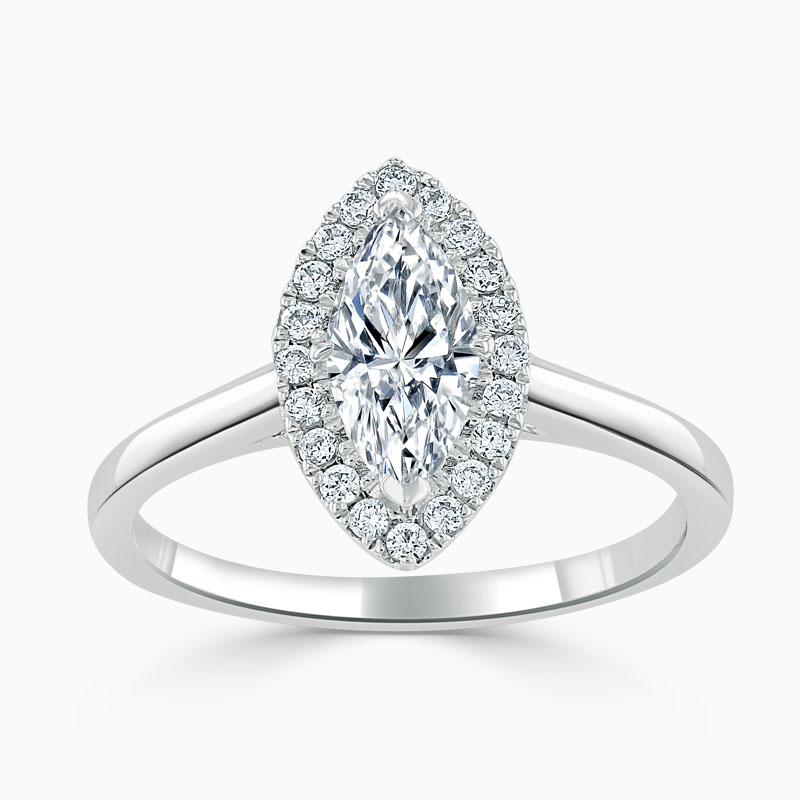 Platinum Marquise Cut Classic Plain Halo Engagement Ring
